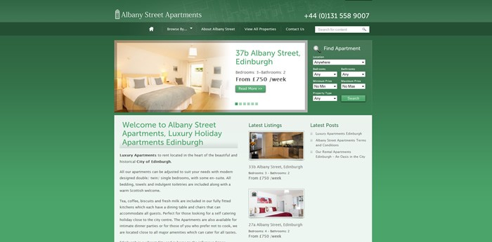 Albany Street Apartments Website Design Image 1