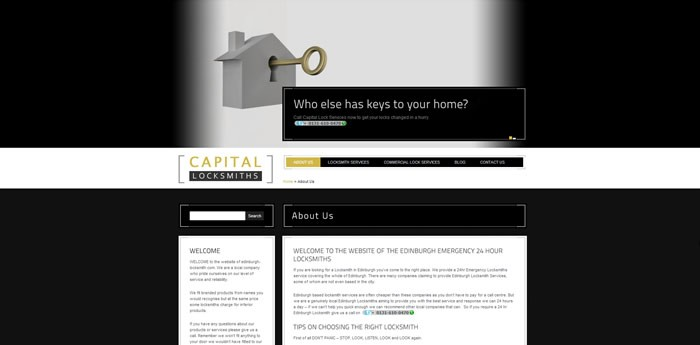 Capital Locksmiths Website Design Image 1