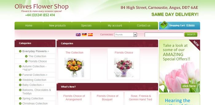 Olives Flower Shop Website Design Image 1