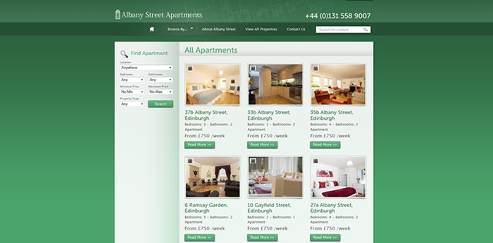 Albany Street Apartments Website Design Image 2