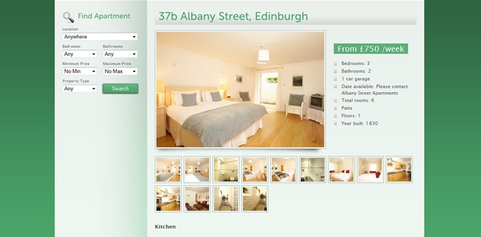 Albany Street Apartments Website Design Image 3
