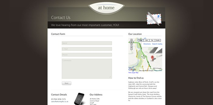 At Home Gifts Website Design Image 3