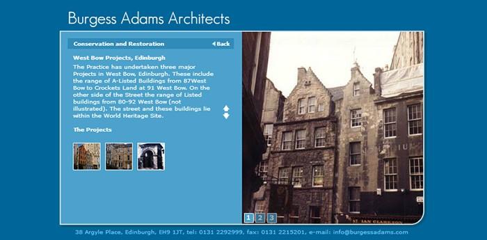 Burgess Adams Architects Website Design Image 2