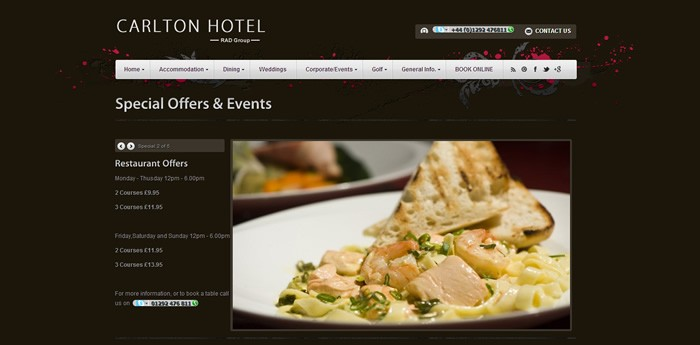 Carlton Hotel Prestwick Website Design Image 3