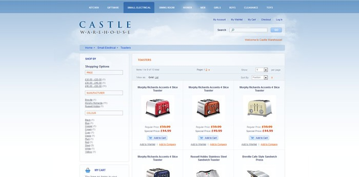 Castle Warehouse Website Design Image 2