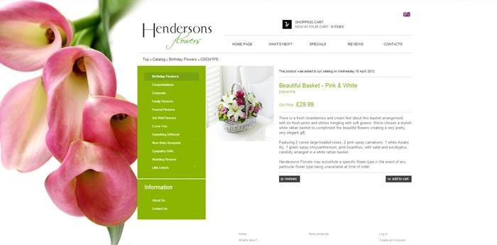 Hendersons Flowers Website Design Image 2