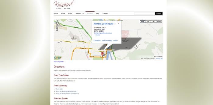 Kinnaird Guest House Website Design Image 2