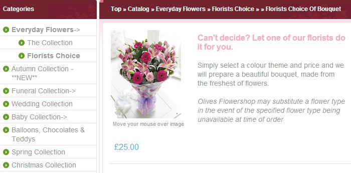 Olives Flower Shop Website Design Image 2