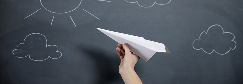 web design process illustrated with paper plane launch